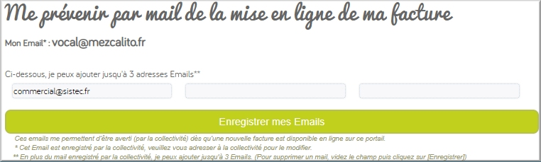 Alerte email interface parent